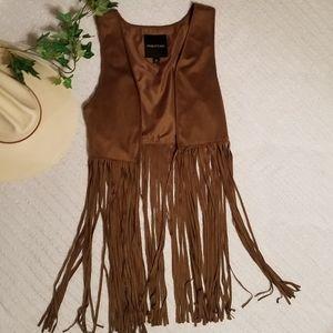 {Maurices} Brown Fringe Vest